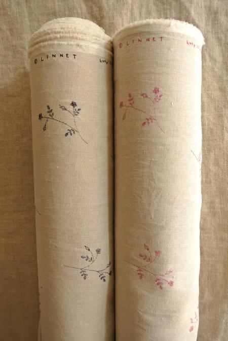 Linen linen print Rose bouquet